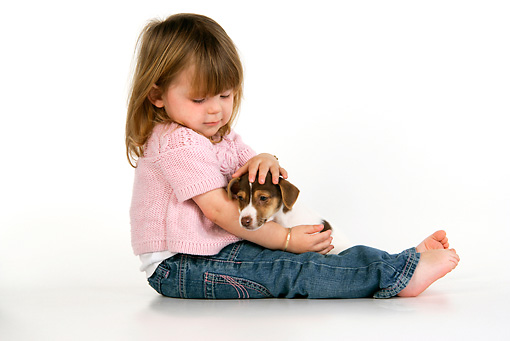 CHD 01 JD0003 01 © Kimball Stock Girl Sitting With Terrier Puppy On Lap