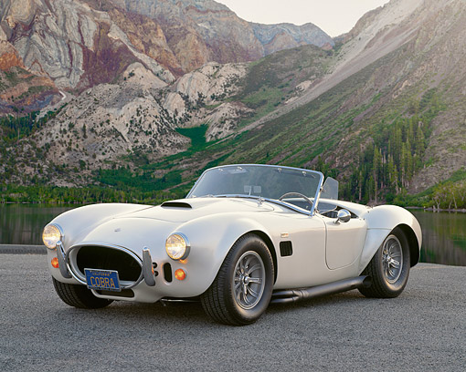 COB 01 RK0043 02 © Kimball Stock 1966 427 AC Shelby Cobra White 3/4 Front View On Pavement By Mountain