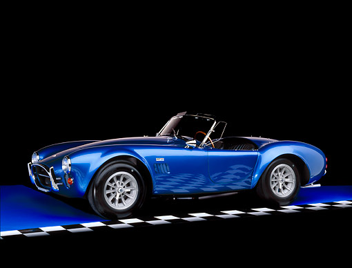 COB 01 RK0080 01 © Kimball Stock 1967 Shelby Cobra AC 427 CSX 3342 Convertible Blue 3/4 Side View On Blue Floor Checkered Line Studio