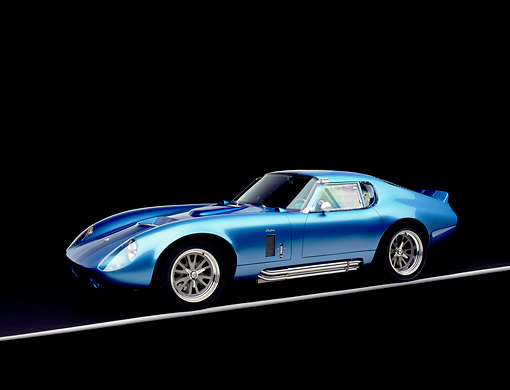 COB 01 RK0113 03 © Kimball Stock 1965 Shelby Daytona Cobra Replica Electric Blue Factory 5 Racing Kit 3/4 Side View Studio