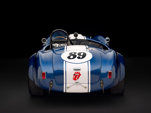 COB 01 RK0129 01 © Kimball Stock 1964 Shelby Cobra 289 AC Blue Convertible Head On View Studio