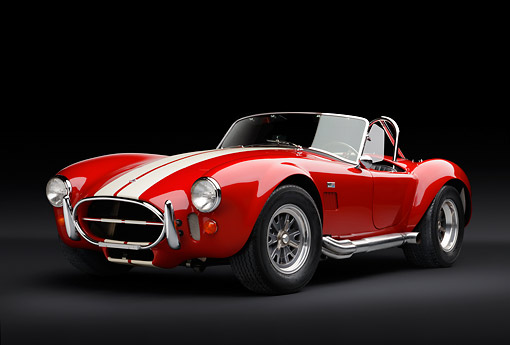 COB 01 RK0140 01 © Kimball Stock 1966 Shelby AC Cobra Red With White Stripes 3/4 Front View In Studio