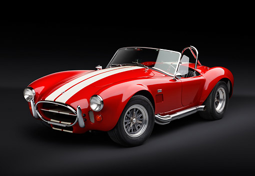 COB 01 RK0141 01 © Kimball Stock 1966 Shelby AC Cobra Red With White Stripes 3/4 Front View In Studio
