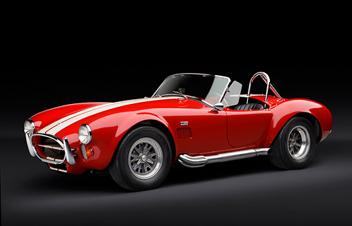 COB 01 RK0144 01 © Kimball Stock 1966 Shelby AC Cobra Red With White Stripes 3/4 Side View In Studio