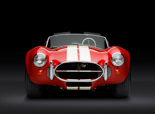 COB 01 RK0146 01 © Kimball Stock 1966 Shelby AC Cobra Red With White Stripes Front View In Studio