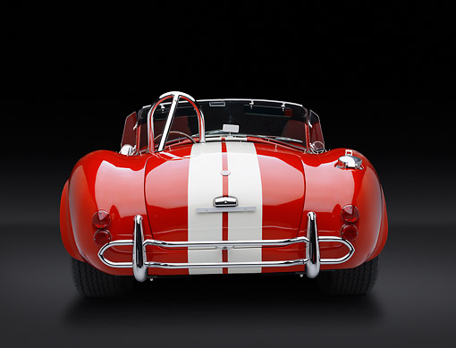 COB 01 RK0147 01 © Kimball Stock 1966 Shelby AC Cobra Red With White Stripes Rear View In Studio