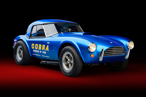 COB 01 RK0149 01 © Kimball Stock 1964 AC Cobra 289 Dragonsnake Blue 3/4 Front View In Studio