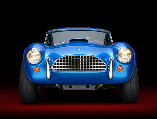 COB 01 RK0151 01 © Kimball Stock 1964 AC Cobra 289 Dragonsnake Blue Head On View In Studio