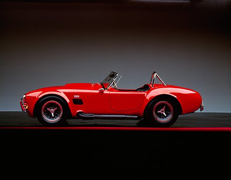 COB 01 RK0012 04 © Kimball Stock 1965 Shelby Cobra 427 Convertible Red Profile On Red Line Studio