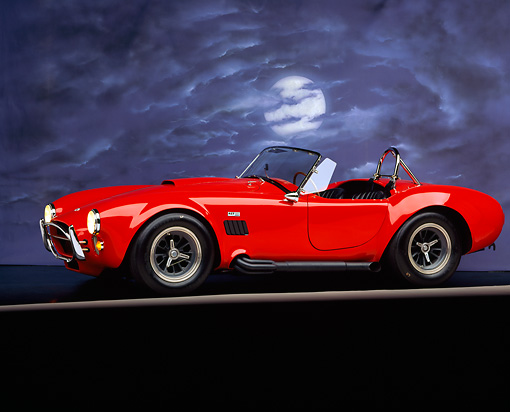 COB 01 RK0056 01 © Kimball Stock 1965 Shelby Cobra 427 Convertible Red 3/4 Side View On Gray Line Moon And Clouds