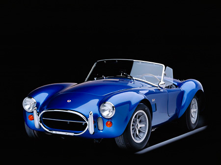 COB 01 RK0078 02 © Kimball Stock 1967 AC Shelby Cobra 427 CSX 3342 Convertible Blue 3/4 Front View On Gray Line Studio