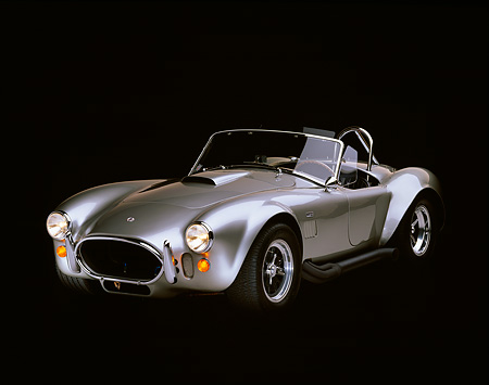 COB 01 RK0082 06 © Kimball Stock 1967 Shelby Cobra Tunnel Port Convertible Silver 3/4 Front View Studio