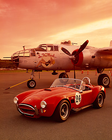 COB 01 RK0093 03 © Kimball Stock 1965 AC Shelby Cobra 427 Convertible Red 3/4 Front View On Pavement By Airplane