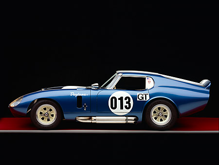 COB 01 RK0103 01 © Kimball Stock 1964 Shelby Cobra Daytona Coupe Blue White Stripe Profile View Studio