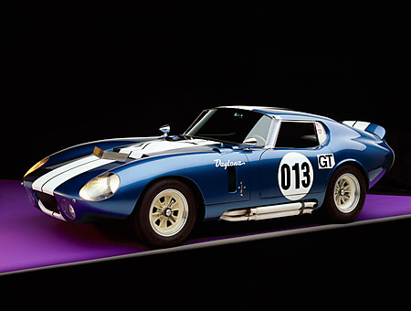 COB 01 RK0106 04 © Kimball Stock 1964 Shelby Daytona Cobra Coupe Blue With White Stripe 3/4 Front View In Studio