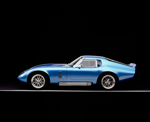 COB 01 RK0114 02 © Kimball Stock 1965 Shelby Daytona Cobra Replica Electric Blue Factory 5 Racing Kit Profile View Studio