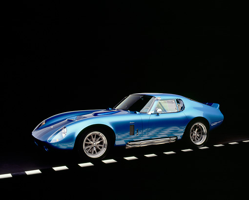 COB 01 RK0115 03 © Kimball Stock 1965 Shelby Daytona Cobra Replica Electric Blue Factory 5 Racing Kit 3/4 Side View Studio