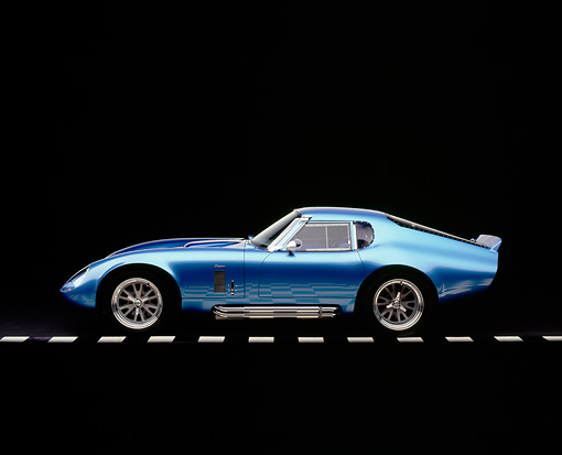 COB 01 RK0116 04 © Kimball Stock 1965 Shelby Daytona Cobra Replica Electric Blue Factory 5 Racing Kit Profile View Studio