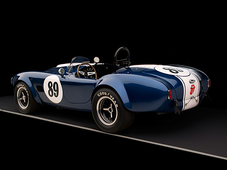 COB 01 RK0127 01 © Kimball Stock 1964 Shelby Cobra 289 AC Blue Convertible 3/4 Rear View Studio