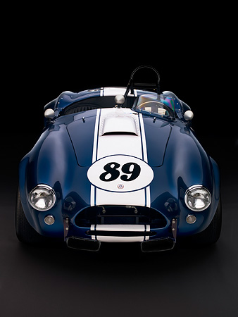 COB 01 RK0128 01 © Kimball Stock 1964 Shelby Cobra 289 AC Blue Convertible Head On View Studio