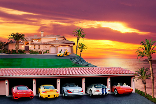 DCA 01 RK0001 01 © Kimball Stock Justification For Higher Education Sports Cars In Garage With House