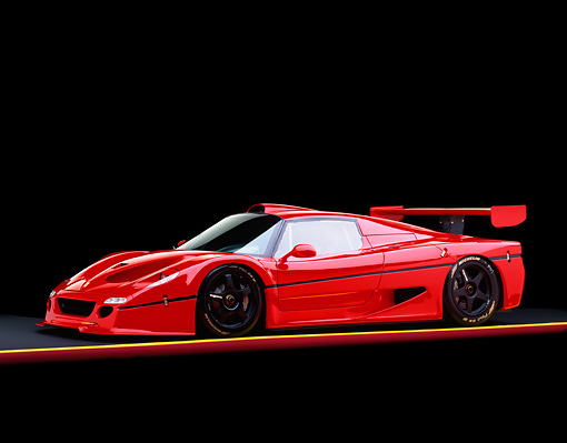 FRR 01 RK0010 06 © Kimball Stock Ferrari F-50 GTR1 Red 3/4 Side View On Red And Yellow Lines Studio