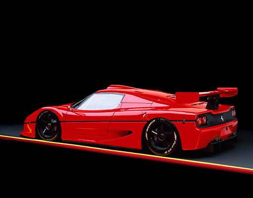 FRR 01 RK0018 01 © Kimball Stock Ferrari F-50 GTR1 Red 3/4 Rear View On Red And Yellow Lines Studio