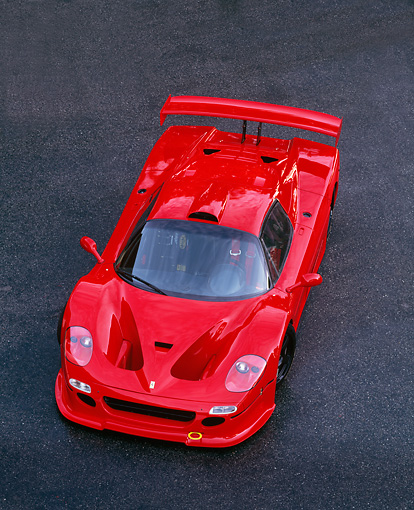 FRR 01 RK0019 02 © Kimball Stock Ferrari F-50 GTR1 Red Ovehread 3/4 Front View  Pavement
