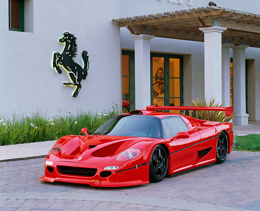 FRR 01 RK0040 03 © Kimball Stock Ferrari F-50 GTR1 Red 3/4 Front View By Ferrari Building