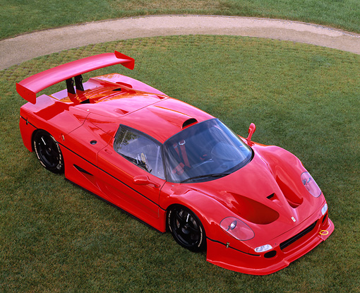 FRR 01 RK0050 05 © Kimball Stock Ferrari F-50 GTR1 Red Ovehread 3/4 Front View On Grass