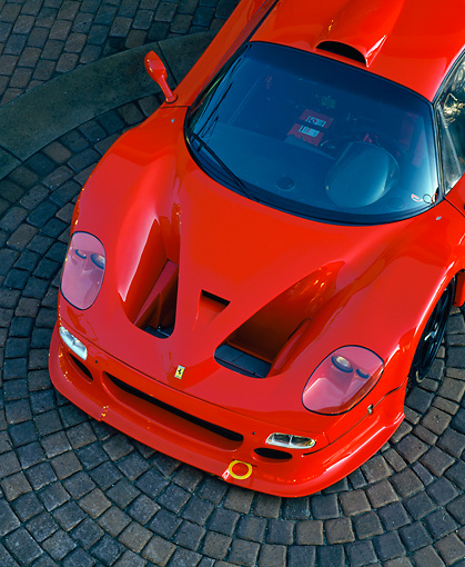 FRR 01 RK0060 02 © Kimball Stock Ferrari F-50 GTR1 Overhead Front Close Up On Brick
