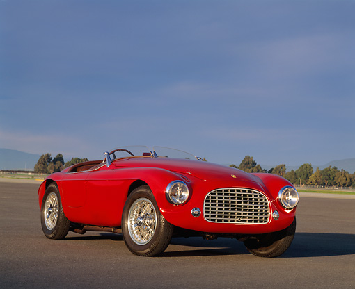 FRR 03 RK0009 01 © Kimball Stock 1950 Ferrari 166 MM Touring Barchetta Red 3/4 Front View On Pavement
