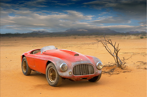 FRR 03 RK0033 01 © Kimball Stock 1950 Ferrari 166MM Barchetta Red 3/4 Front View In Desert