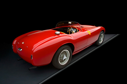 FRR 03 RK0088 01 © Kimball Stock 1953 Ferrari 340mm Roadster Red 3/4 Rear View Studio