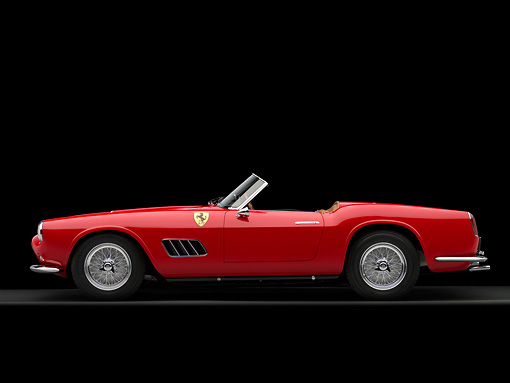 FRR 03 RK0111 01 © Kimball Stock 1959 Ferrari 250GT California Spyder LWB Red Profile View Studio