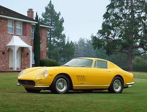 FRR 04 RK0036 01 © Kimball Stock 1965 Ferrari 275 GTB Yellow  3/4 Front View On Grass By Trees