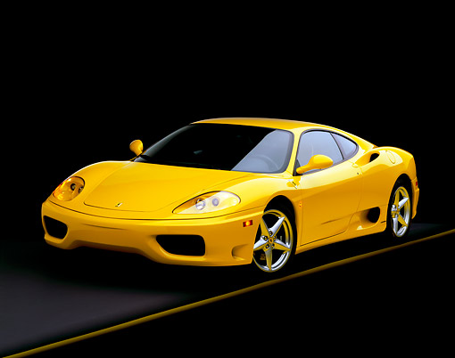 FRR 04 RK0168 04 © Kimball Stock 1999 Ferrari 360 Modena Yellow 3/4 Front View On Gray Line Studio