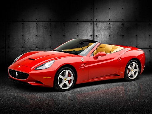 FRR 04 RK0635 01 © Kimball Stock 2009 Ferrari California Red 3/4 Front View In Studio Against Blocks