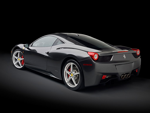 FRR 04 RK0646 01 © Kimball Stock 2010 Ferrari 458 Italia Gray 3/4 Rear View In Studio