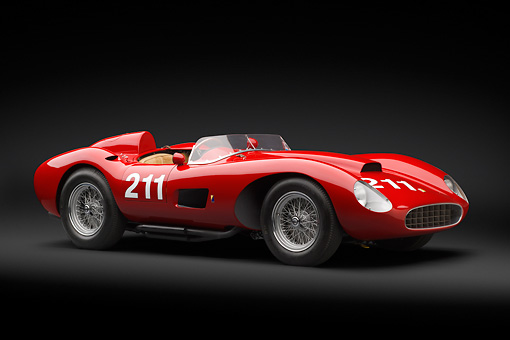 FRR 04 RK0690 01 © Kimball Stock 1957 Ferrari 625 TRC Red 3/4 Front View In Studio