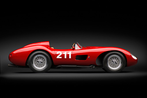 FRR 04 RK0696 01 © Kimball Stock 1957 Ferrari 625 TRC Red Profile View In Studio