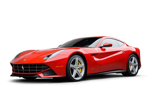 FRR 04 RK0702 01 © Kimball Stock 2014 Ferrari F-12 Berlinetta Red  3/4 Front View On White Seamless
