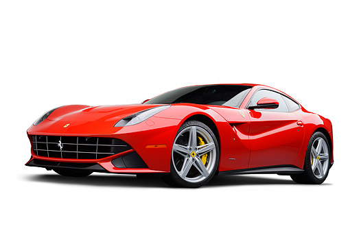 FRR 04 RK0703 01 © Kimball Stock 2014 Ferrari F-12 Berlinetta Red  3/4 Front View On White Seamless