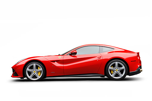 FRR 04 RK0704 01 © Kimball Stock 2014 Ferrari F-12 Berlinetta Red  Profile View On White Seamless