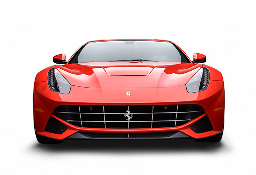 FRR 04 RK0705 01 © Kimball Stock 2014 Ferrari F-12 Berlinetta Red  Front View On White Seamless