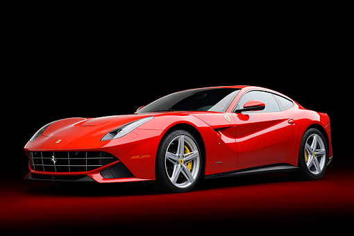 FRR 04 RK0707 01 © Kimball Stock 2014 Ferrari F-12 Berlinetta Red 3/4  Front View In Studio