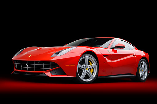 FRR 04 RK0708 01 © Kimball Stock 2014 Ferrari F-12 Berlinetta Red 3/4  Front View In Studio