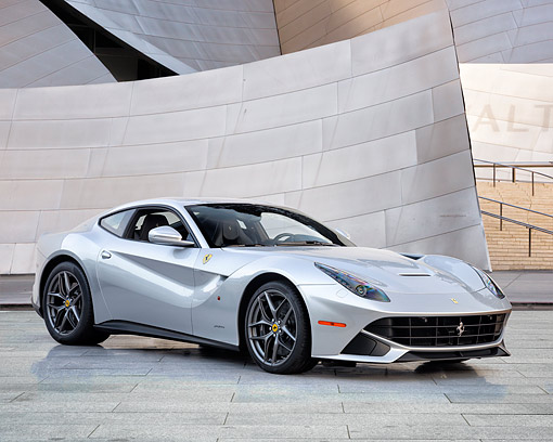 FRR 04 RK0727 01 © Kimball Stock 2015 Ferrari F12berlinetta Silver 3/4 Front View By Building