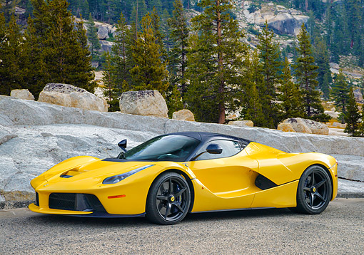 FRR 04 RK0728 01 © Kimball Stock 2014 Ferrari LaFerrari Hybrid Yellow 3/4 Front View By Forest