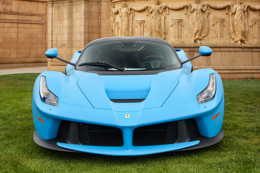 FRR 04 RK0738 01 © Kimball Stock 2016 Ferrari LaFerrari Hybrid Blue Front View On Grass By Decorative Buildig